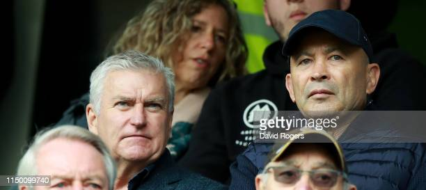 Eddie Jones looks on with RFU chief executive Bill Sweeney during the Gallagher Premiership Rugby match between Wasps and Harlequins at the Ricoh...