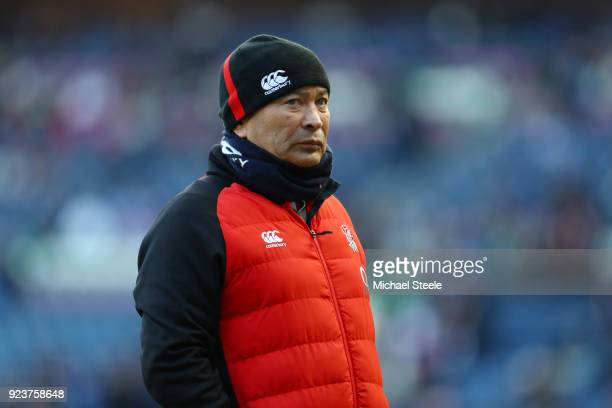 Eddie Jones of England looks on prior to the NatWest Six Nations match between Scotland and England at Murrayfield on February 24 2018 in Edinburgh...
