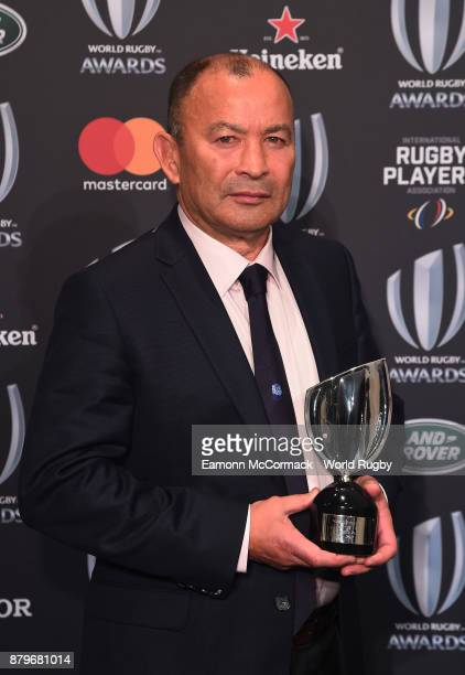 Eddie Jones of England poses with the World Rugby Coach of the Year Award during the World Rugby Awards 2017 in the Salle des Etoiles at MonteCarlo...