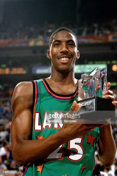Eddie Jones of the Green Squad poses with his MVP award after the 1995 Rookie Challenge played February 11, 1995 at the America West Center in...
