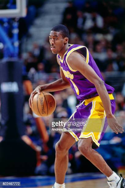 Eddie Jones of the Los Angeles Lakers dribbles during the 1997 AllStar Game on February 9 1997 at Gund Arena in Cleveland Ohio NOTE TO USER User...