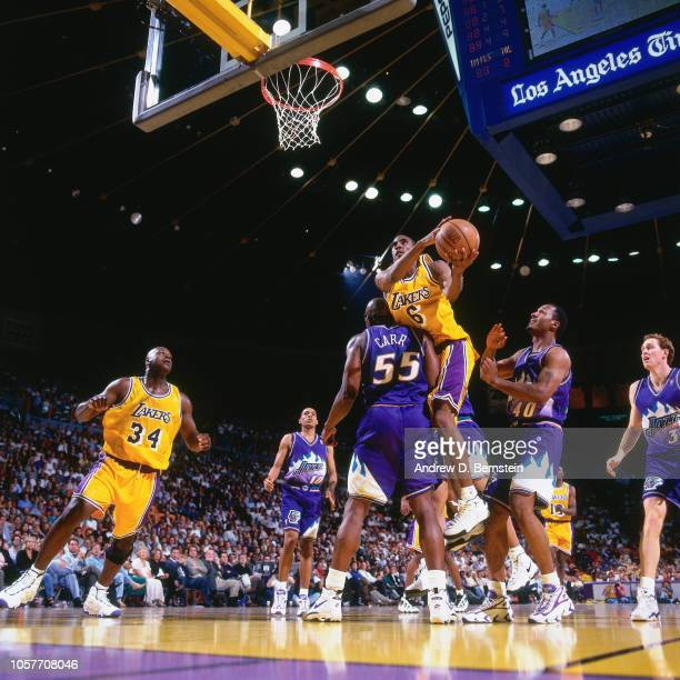 Eddie Jones of the Los Angeles Lakers shoots during Game Three of the Western Conference Semifinals as part of the 1997 NBA Playoffs on May 8 1997 at...