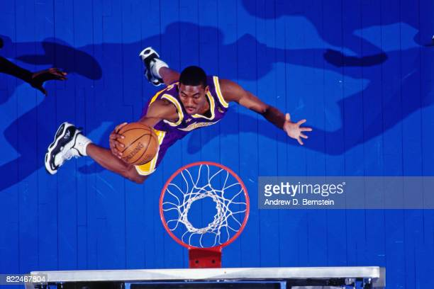 Eddie Jones of the Los Angeles Lakers shoots during the 1997 AllStar Game on February 9 1997 at Gund Arena in Cleveland Ohio NOTE TO USER User...