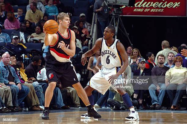 Eddie Jones of the Memphis Grizzlies guards Sergei Monia of the Portland Trail Blazers during the game on November 22 2005 at FedexForum in Memphis...