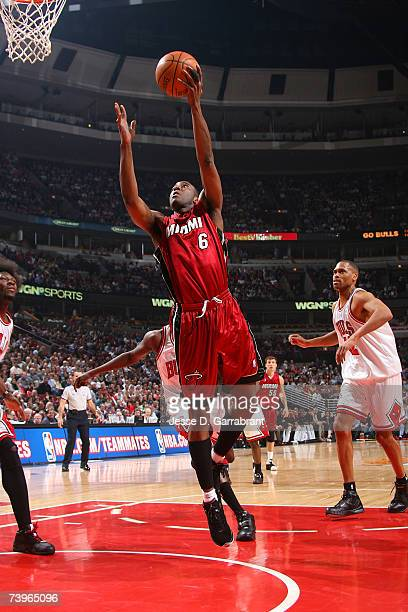 Eddie Jones of the Miami Heat goes to the basket in the first quarter of Game Two of the Eastern Conference Quarterfinals against the Chicago Bulls...