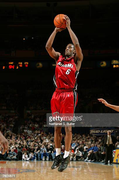 Eddie Jones of the Miami Heat shoots against the New York Knicks during the game at Madison Square Garden on January 24 2004 in New York New York The...