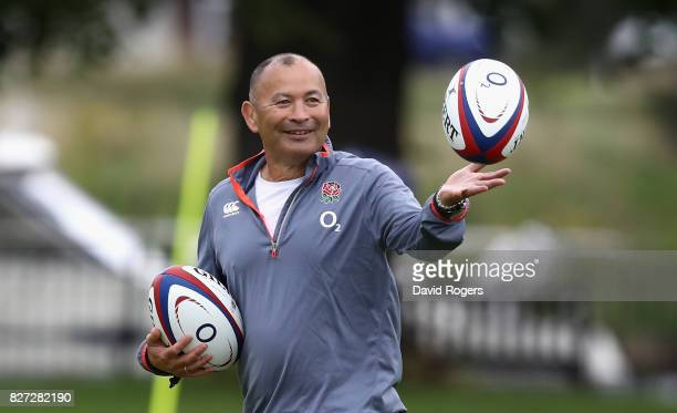 Eddie Jones the England head coach catches the ball during the England training session at the Lensbury Club on August 7 2017 in Teddington England
