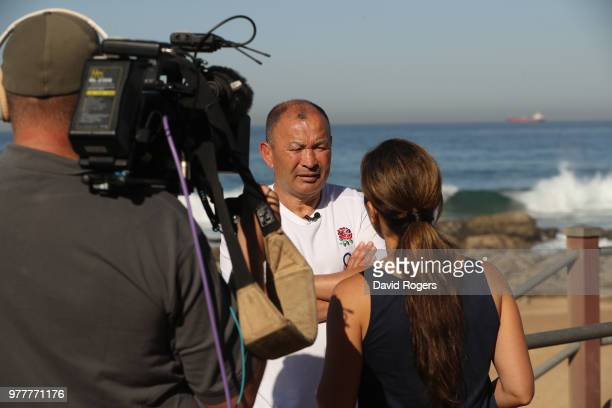 Eddie Jones the England head coach faces the media at the Beverly Hills hotel on June 18 2018 in Umhlanga Rocks South Africa