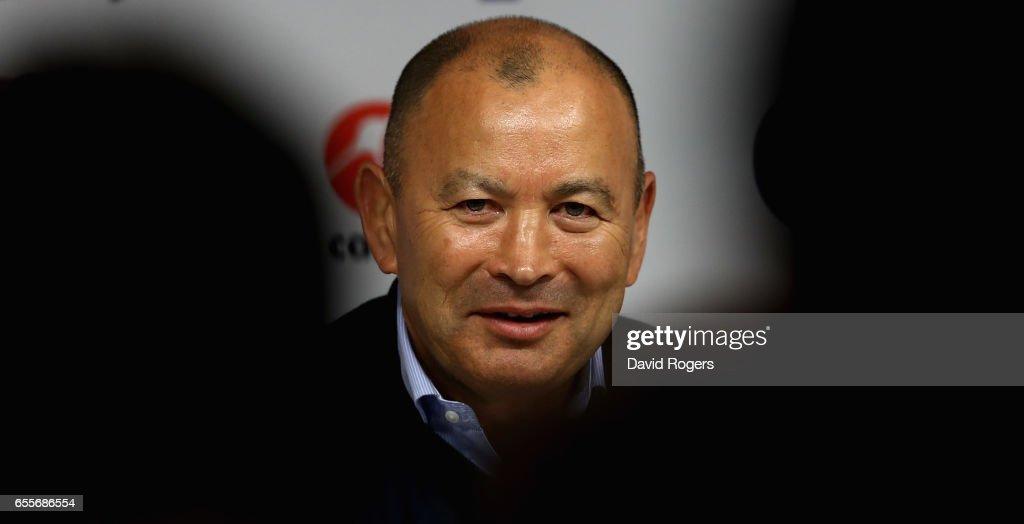 Eddie Jones, the England head coach faces the media at Twickenham Stadium on March 20, 2017 in Twickenham, England.