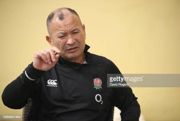 Eddie Jones the England head coach faces the media during the England media session held at Browns Sport and Leisure Club on October 25 2018 in...