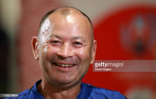 Eddie Jones, the England head coach faces the media during the England media session on October 24, 2019 in Tokyo, Japan.