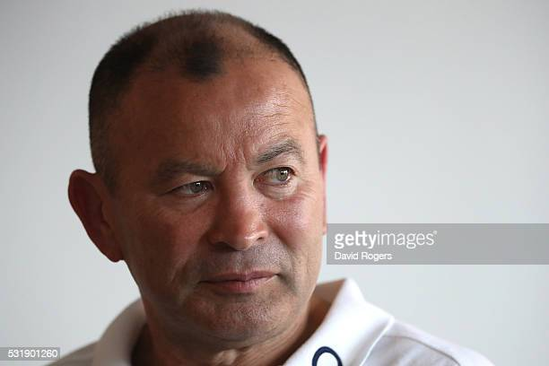 Eddie Jones the England head coach faces the media during the England media session held at Brighton College on May 17 2016 in Brighton England