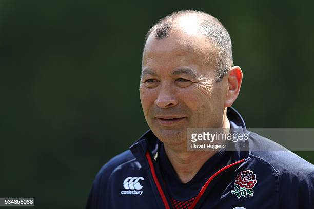Eddie Jones the England head coach faces the media during the England media session held at Pennyhill Park on May 27 2016 in Bagshot England