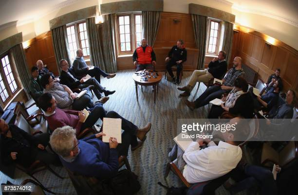 Eddie Jones the England head coach faces the media during the England media session held at Pennyhill Park on November 13 2017 in Bagshot England