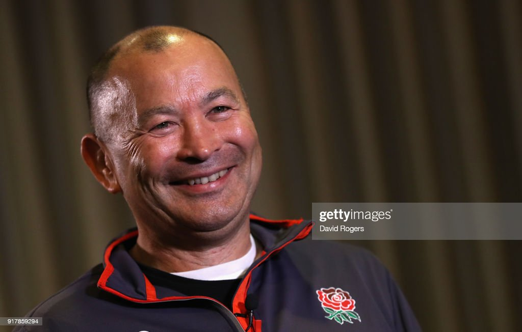 Eddie Jones, the England head coach, faces the media during the England meida session held at the Royal Garden Hotel on February 13, 2018 in London, England.