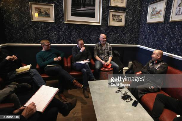 Eddie Jones the England head coach faces the media during the England media session held at the Randolph Hotel on February 28 2018 in Oxford England