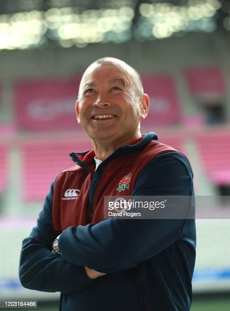 Eddie Jones, the England head coach faces the media on January 31, 2020 in Paris, France.