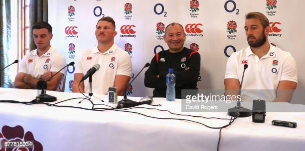 Eddie Jones the England head coach faces the media with his two co captains George Ford and Chris Robshaw looking on with Dylan Hartley who has been...