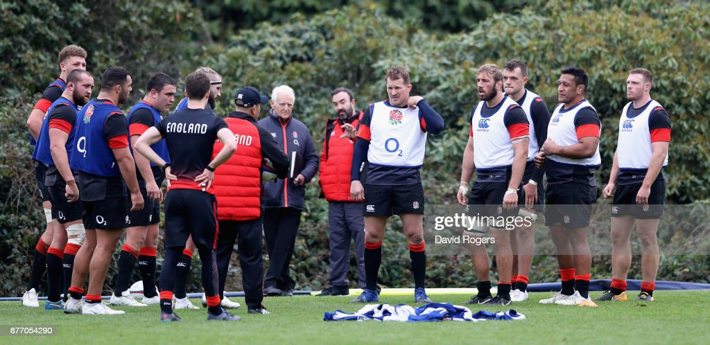Eddie Jones, the England head coach issues instructions to his team during the England training session held at Pennyhill Park on November 21, 2017 in Bagshot, England.