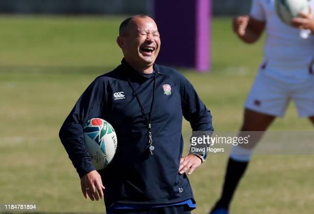 Eddie Jones, the England head coach, laughs during the England captain's run at the Fuchu Assahi Football Park on November 01, 2019 in Tokyo, Japan.