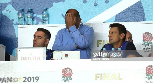 Eddie Jones, the England head coach, looks dejected during their defeat during the Rugby World Cup 2019 Final between England and South Africa at...