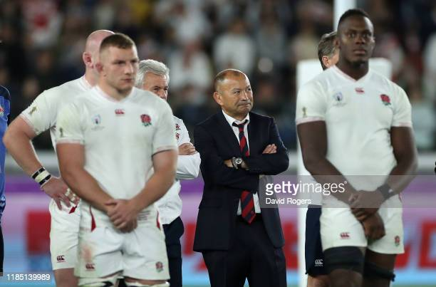Eddie Jones, the England head coach, looks on after their defeat during the Rugby World Cup 2019 Final between England and South Africa at...