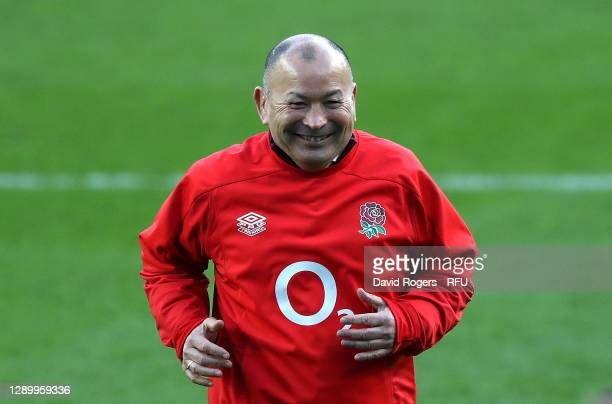 Eddie Jones, the England head coach looks on during the Autumn Nations Cup Final and Quilter International match between England and France at...