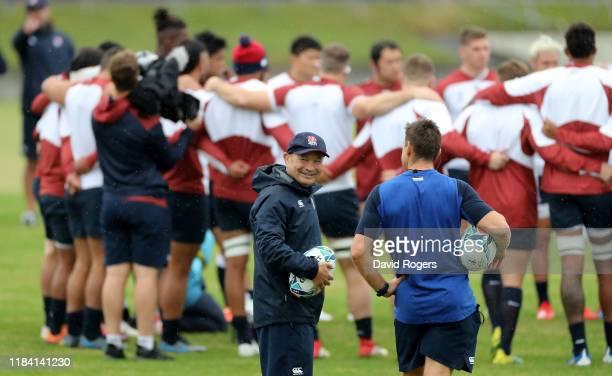 Eddie Jones, the England head coach looks on during the England training session at Fuchu Asahi Football Park on October 29, 2019 in Tokyo, Japan.