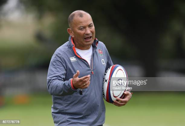 Eddie Jones the England head coach looks on during the England training session at the Lensbury Club on August 7 2017 in Teddington England