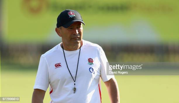 Eddie Jones the England head coach looks on during the England training session at Kings Park Stadium on June 13 2018 in Durban South Africa