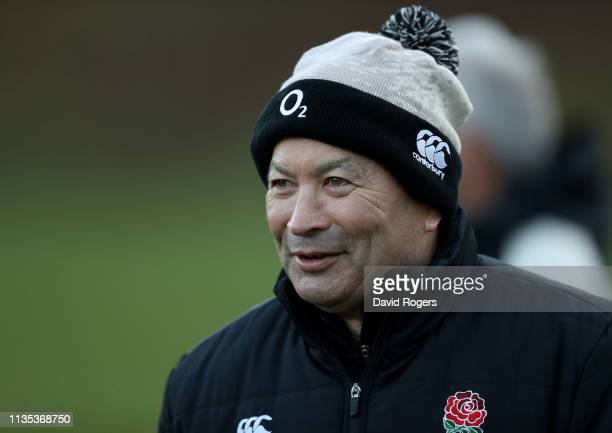 Eddie Jones, the England head coach, looks on during the England training session held at Pennyhill Park on March 12, 2019 in Bagshot, England.