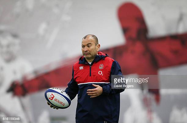 Eddie Jones the England head coach looks on during the England training session held at Pennyhill Park on March 17 2016 in Bagshot England