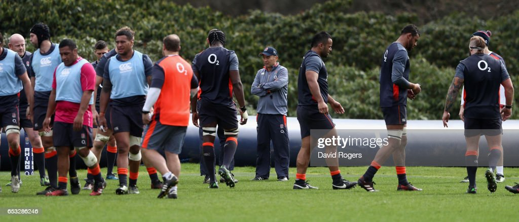 Eddie Jones, the England head coach looks on during the England training session held at Pennyhill Park on March 14, 2017 in Bagshot, England.