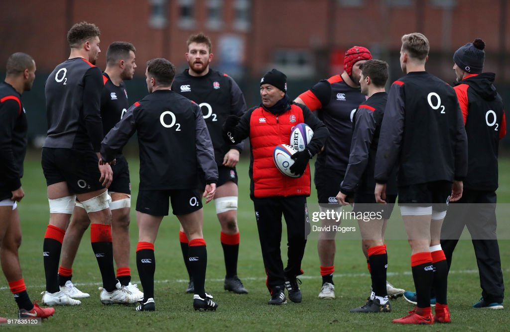 Eddie Jones, the England head coach looks on during the England training session held at Latymer Upper School on February 13, 2018 in London, England.