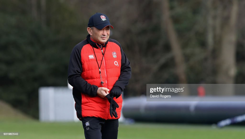 Eddie Jones, the England head coach, looks on during the England training session held at Pennyhill Park on March 14, 2018 in Bagshot, England.