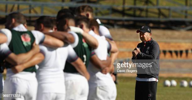 Eddie Jones the England head coach looks on during the England training session held at St Stithians College on June 8 2018 in Sandton South Africa