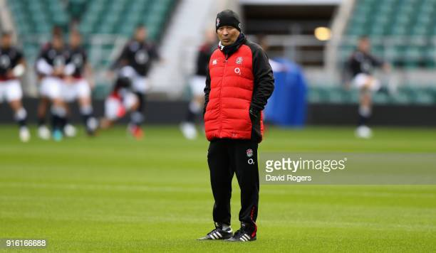 Eddie Jones the England head coach looks on during the England captain's run held at Twickenham Stadium on February 9 2018 in London England