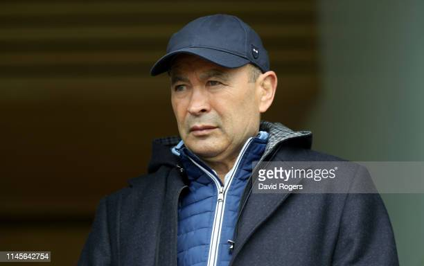 Eddie Jones the England head coach looks on during the Gallagher Premiership Rugby match between Worcester Warriors and Gloucester Rugby at Sixways...