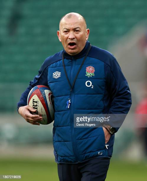 Eddie Jones, the England head coach looks on during the Guinness Six Nations match between England and France at Twickenham Stadium on March 13, 2021...