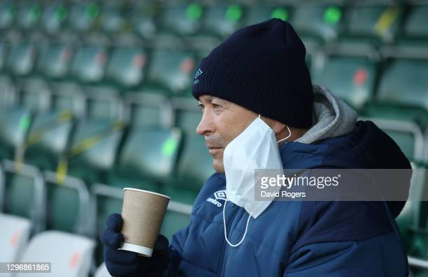 Eddie Jones, the England head coach looks on during the Trailfinders Challenge Cup match between Ealing Trailfinders and Saracens at the Trailfinders...