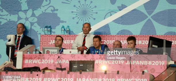 Eddie Jones the England head coach looks on with his management staff during the Rugby World Cup 2019 SemiFinal match between England and New Zealand...