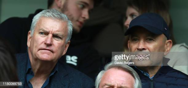 Eddie Jones the England head coach looks on with RFU chief executive Bill Sweeney during the Gallagher Premiership Rugby match between Wasps and...