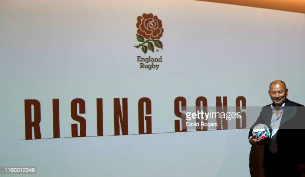 Eddie Jones the England head coach poses at the 2019 World Cup England training squad announcement held at Japan House on July 04 2019 in London...