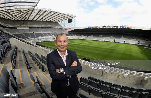 Eddie Jones the England head coach poses at the annoucement of a pre 2019 Rugby World Cup warm up match against Italy at St James' Park on September...