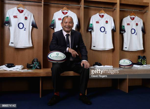 Eddie Jones the England head coach poses at the Old Mutual Wealth Series England senior squad annoucement at The Millennium Bridge on October 26 2017...