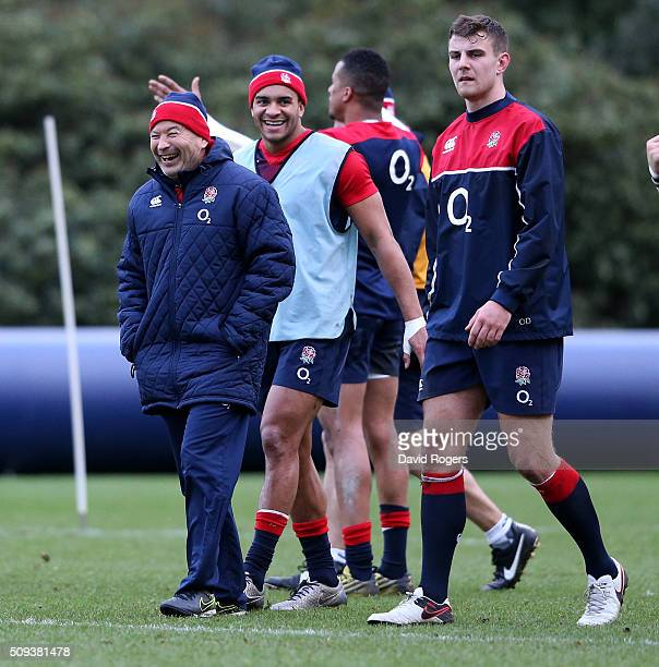 Eddie Jones the England head coach shares a joke with Jonathan Joseph during the England training session held at Pennyhill Park on February 10 2016...