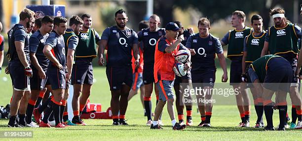 Eddie Jones the England head coach talks to his squad of players during the England training session held at Brown's Sport Complex on November 1 2016...