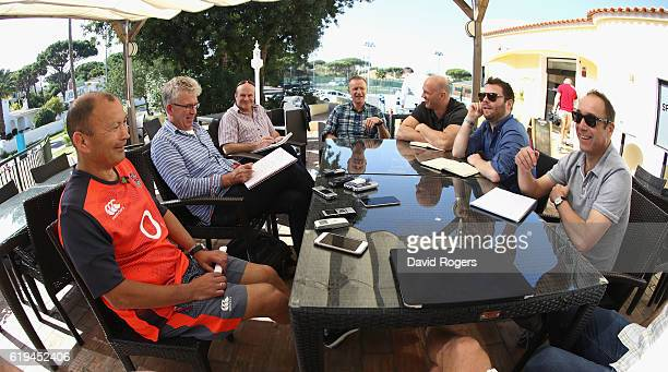 Eddie Jones the England head coach talks to the media during the England media session held at Brown's Sport Complex on October 31 2016 in Vilamoura...