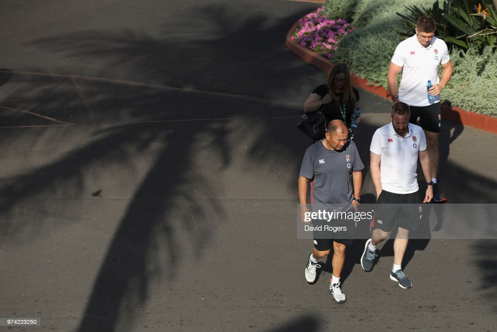 Eddie Jones, the England head coach walks to the media conference during the England media session held on June 14, 2018 in Umhlanga Rocks, South Africa.