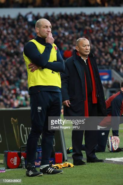 Eddie Jones the head coach looks on with skills coach Steve Borthwick during the 2020 Guinness Six Nations match between England and Ireland at...
